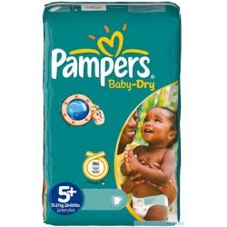 48 Couches de Pampers Baby Dry de taille 5+ sur Sos Couches