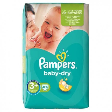 82 Couches Pampers Baby Dry taille 3+ sur Sos Couches