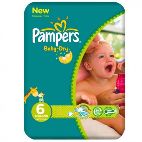 31 Couches Pampers Baby Dry taille 6 sur Sos Couches