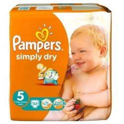 32 Couches Pampers Simply Dry 5