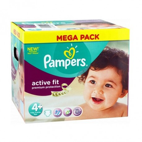 12 Couches Pampers Active Fit taille 4+ sur Sos Couches