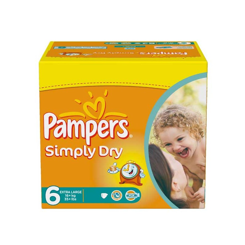 Achat 62 couches pampers simply dry taille 6 en promotion sur sos couches - Couches pampers en promo ...