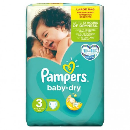 52 Couches Pampers Baby Dry 3 sur Sos Couches