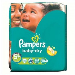 35 Couches Pampers Baby Dry taille 5+