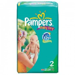 232 Couches Pampers de la gamme Baby Dry taille 2 sur Sos Couches