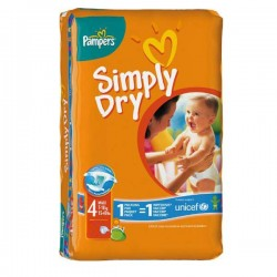 46 Couches Pampers Simply Dry de taille 4 sur Sos Couches
