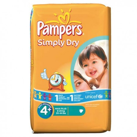 44 Couches Pampers Simply Dry taille 4+ sur Sos Couches