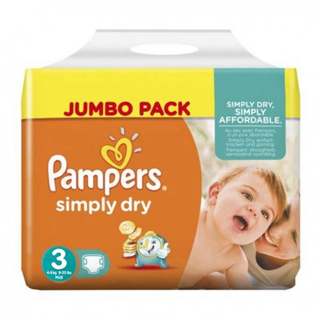 56 Couches Pampers Simply Dry taille 3 sur Sos Couches