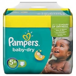 43 Couches Pampers Baby Dry taille 5+