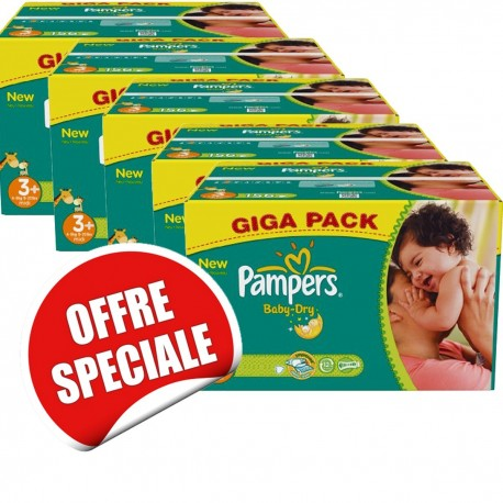 680 Couches Pampers Baby Dry taille 3+ sur Sos Couches