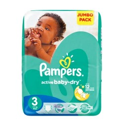 74 Couches de la marque Pampers Active Baby Dry taille 3 sur Sos Couches