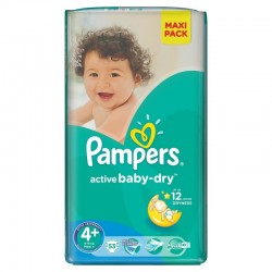 53 Couches Pampers Active Baby Dry 4+