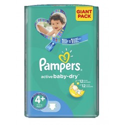 32 Couches Pampers Active Baby Dry de taille 4+ sur Sos Couches