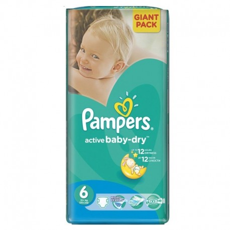 42 Couches Pampers Active Baby Dry taille 6 sur Sos Couches