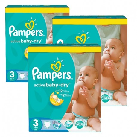 296 Couches Pampers Active Baby Dry taille 3 sur Sos Couches