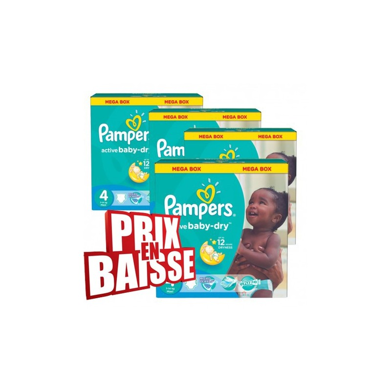 Achat 290 couches pampers active baby dry taille 4 moins - Prix couches pampers baby dry taille 4 ...