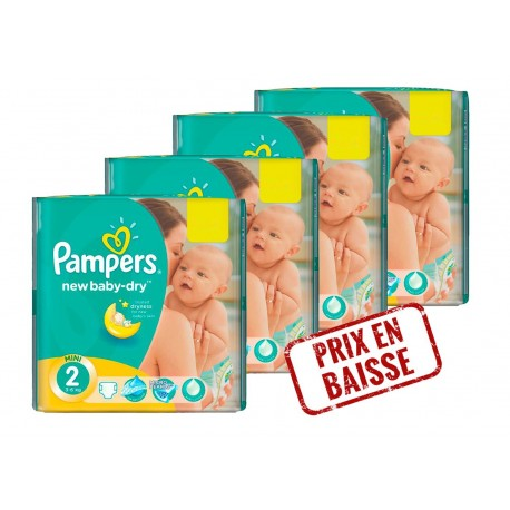 272 Couches Pampers New Baby Dry taille 2 sur Sos Couches