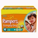528 Couches Pampers Simply Dry taille 4+ sur Sos Couches