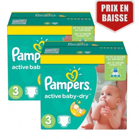 410 Couches Pampers Active Baby Dry taille 3 sur Sos Couches