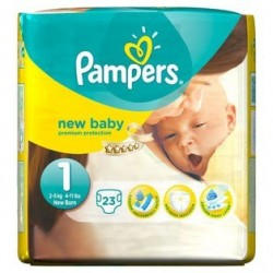 23 Couches Pampers New Baby taille 1