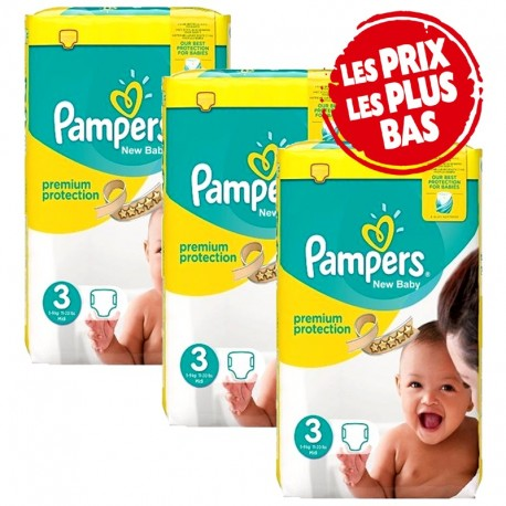 174 Couches Pampers Premium Protection - New Baby taille 3 sur Sos Couches