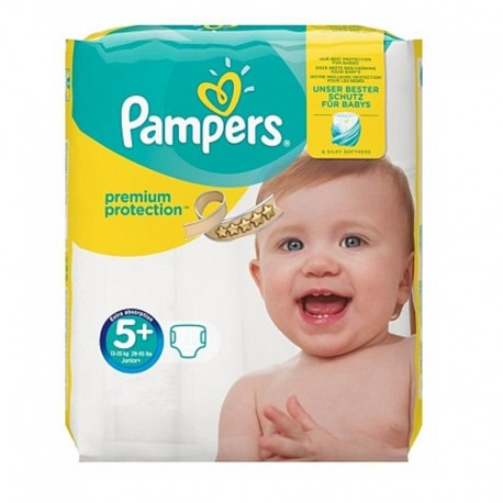 32 Couches Pampers Premium Protection - New Baby taille 5+ sur Sos Couches