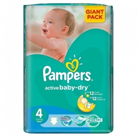 90 Couches Pampers Active Baby Dry taille 4+ sur Sos Couches