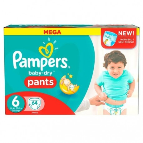 64 Couches Pampers Baby Dry Pants taille 6 sur Sos Couches