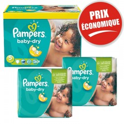 225 Couches Pampers Baby Dry taille 5+