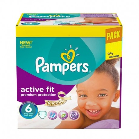 120 Couches Pampers Active Fit - Premiun Protection taille 6 sur Sos Couches