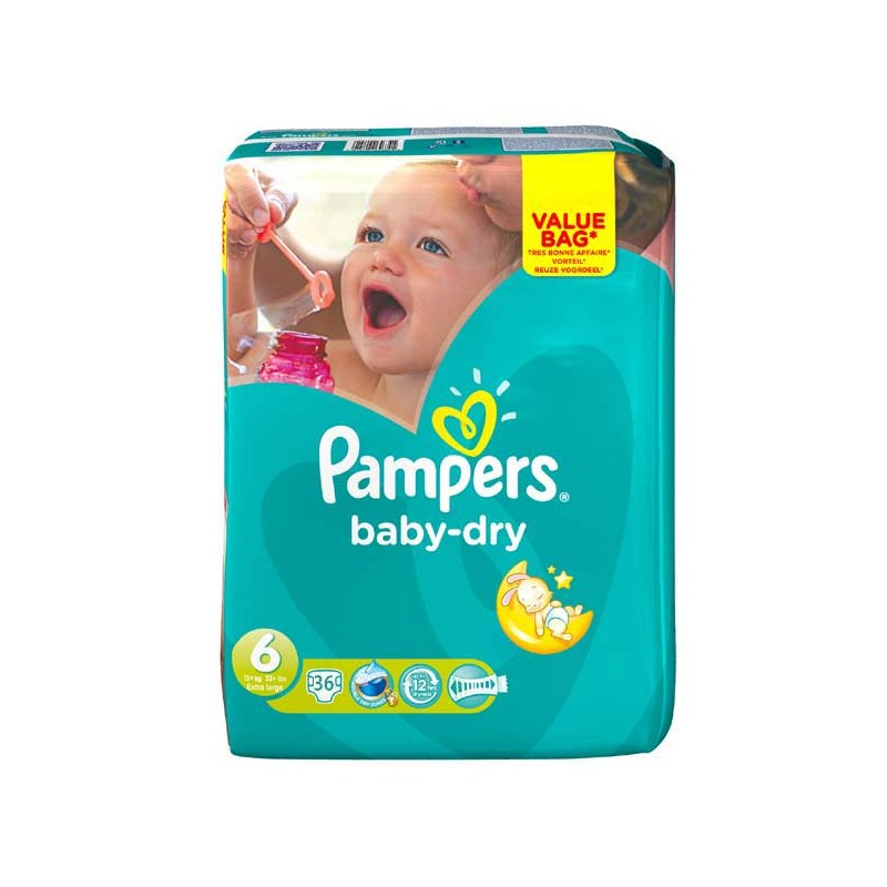 Achat 36 couches pampers baby dry taille 6 pas cher sur sos couches - Couches pampers baby dry ...