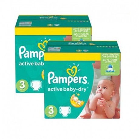 108 Couches Pampers Active Baby Dry taille 3 sur Sos Couches