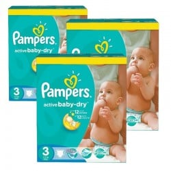 216 Couches Pampers Active Baby Dry taille 3