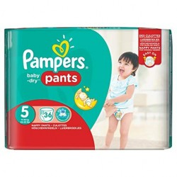36 Couches Pampers Baby Dry Pants taille 5