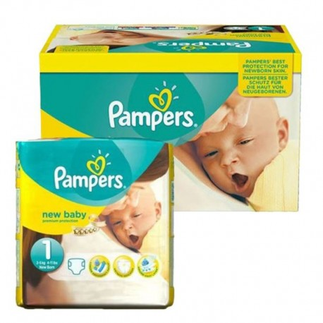 96 Couches Pampers new baby - premium protection taille 1 sur Sos Couches