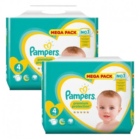 164 Couches Pampers New Baby Premium Protection taille 4 sur Sos Couches
