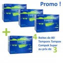 320 Tampons Tampax Compak - 4 Packs de 80 taille super avec applicateureur sur Sos Couches